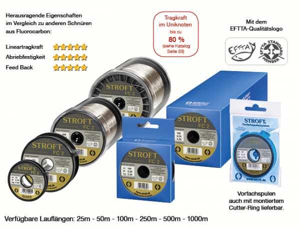 Stroft FC 2 0,15 mm 2,0 kg - Flurocarbon / Kristall Transparent / 25 m